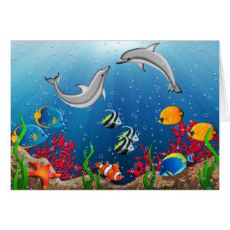 熱帯水中世界のメッセージカード カード