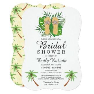 熱帯水彩画のビーチサンダルのブライダルシャワー 12.7 X 17.8 インビテーションカード