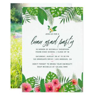 熱帯水彩画のルアウ(ハワイ式宴会)の卒業パーティーの写真 カード