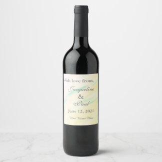 熱帯水彩画の結婚式はワインのラベル感謝していしています ワインラベル