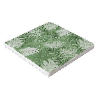 熱帯水彩画の緑の白の葉 トリベット