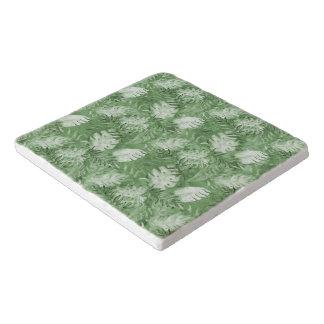 熱帯水彩画の緑の葉 トリベット