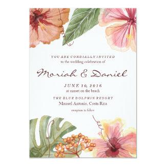 熱帯水彩画の行先の結婚式招待状 カード