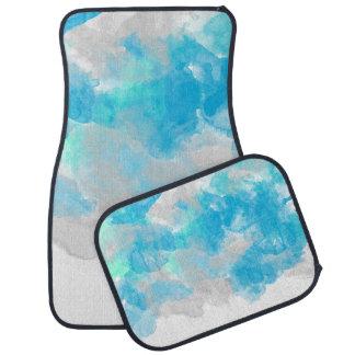 熱帯水色の抽象的な水彩画のしぶき カーマット