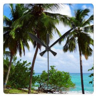 熱帯海景の柱時計のヤシの木 スクエア壁時計