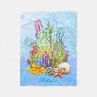 熱帯海洋生物の青 フリースブランケット