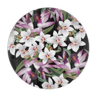 熱帯白い蘭によっては花の島が開花します カッティングボード