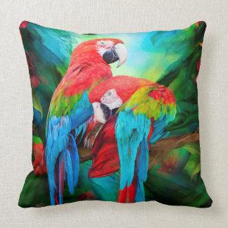 熱帯精神-コンゴウインコの芸術デザイナー枕 クッション