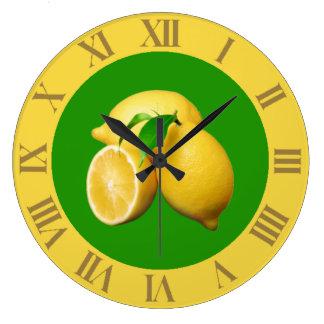 熱帯緑および黄色の柑橘類および新しいレモン ラージ壁時計