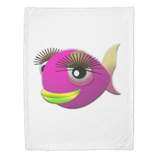 熱帯美しいピンクの女の子の魚 掛け布団カバー