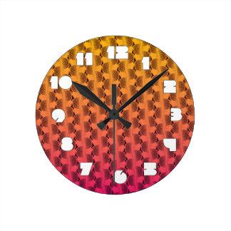 熱帯色の柱時計の波状ライン ラウンド壁時計