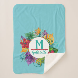 熱帯花のやしリースのモノグラムのイニシャルの名前 シェルパブランケット