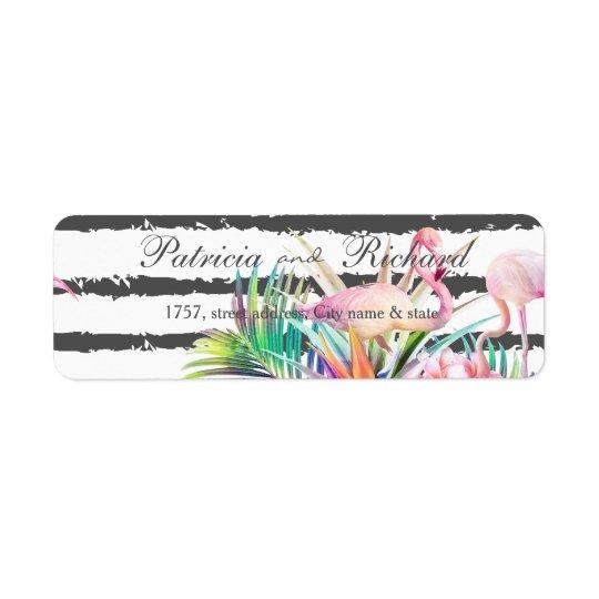 熱帯花のフラミンゴのストライプな結婚式のデザイン ラベル