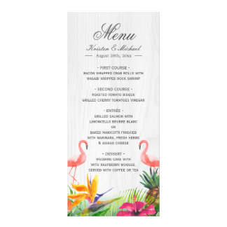 熱帯花のフラミンゴのパイナップル結婚式メニュー ラックカード