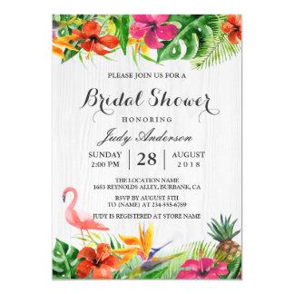 熱帯花の素朴な木製のフラミンゴのブライダルシャワー カード