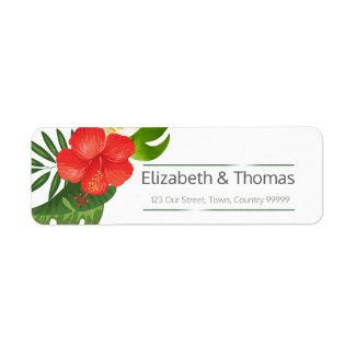 熱帯花の結婚式の差出人住所ID475 ラベル