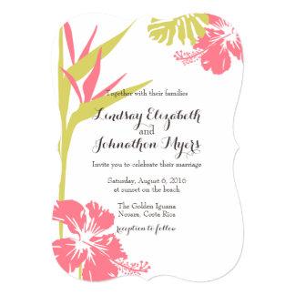 熱帯花の結婚式の招待極楽鳥 カード
