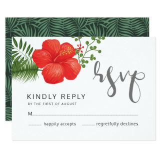 熱帯花の結婚RSVP ID475 カード