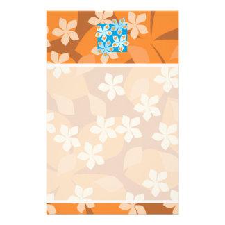 熱帯花パターン。 青およびオレンジ 便箋
