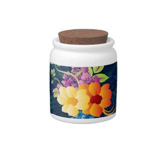 熱帯花及びつる植物 陶器製キャンディジャー