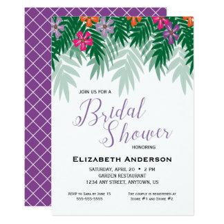熱帯花及びやし枝ブライダルシャワー カード