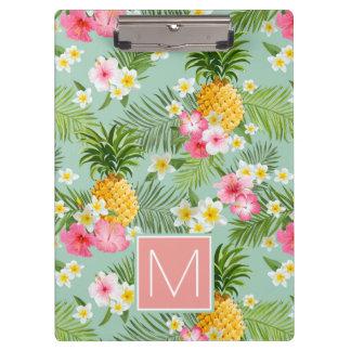 熱帯花及びパイナップルは|あなたのイニシャルを加えます クリップボード