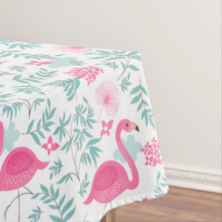熱帯花及びピンクのフラミンゴパターン テーブルクロス
