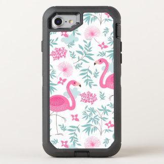 熱帯花及び葉を持つピンクのフラミンゴ オッターボックスディフェンダーiPhone 8/7 ケース