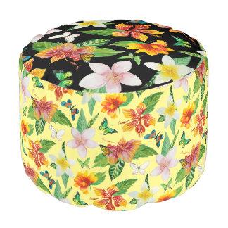 熱帯花及び蝶パターン プーフ