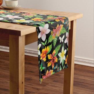 熱帯花及び蝶パターン ロングテーブルランナー