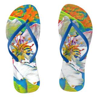 熱帯花柄のビーチサンダル ビーチサンダル