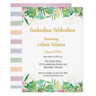 熱帯花柄のボーダー カード