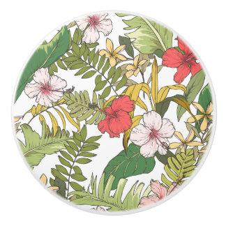 熱帯花柄 セラミックノブ
