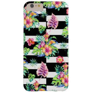 熱帯花模様及び白のストライプGR3 スリム iPhone 6 PLUS ケース