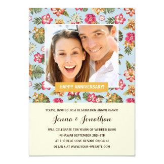 熱帯花模様|の写真の記念パーティー 12.7 X 17.8 インビテーションカード