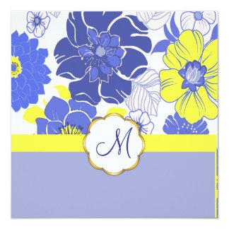 熱帯花 + モノグラム、招待状 カード