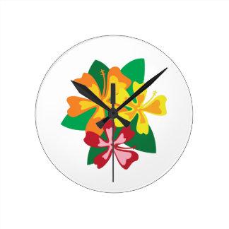 熱帯花 ラウンド壁時計
