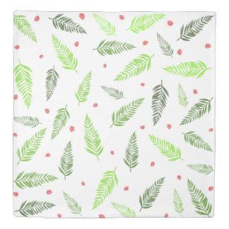 熱帯葉およびいちごパターン 掛け布団カバー