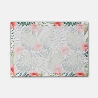 熱帯葉のハイビスカスの花柄の水彩画 ポストイット