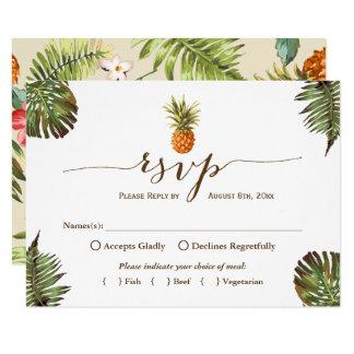 熱帯葉のパイナップルハワイのルアウ(ハワイ式宴会) RSVP カード
