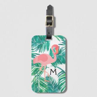 熱帯葉のモノグラムのピンクのフラミンゴ バッグタグ