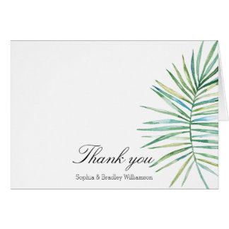 熱帯葉の水彩画は感謝していしています カード