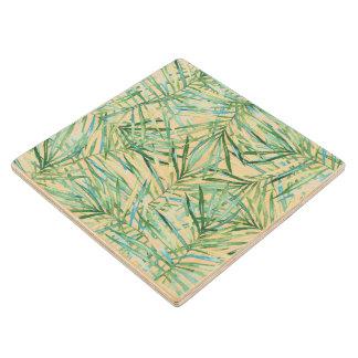 熱帯葉の水彩画 ウッドコースター