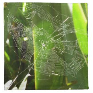 熱帯葉の緑の自然のSpiderweb ナプキンクロス