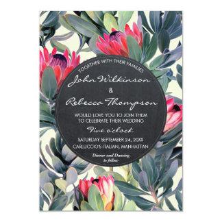 熱帯葉の花のモダンな結婚式招待状 カード