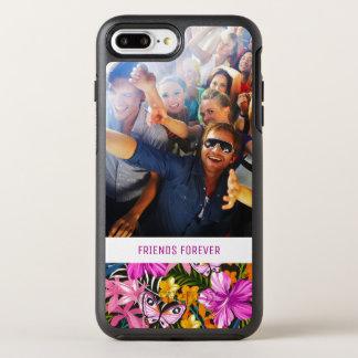 熱帯葉及び花は|あなたの写真及び文字を加えます オッターボックスシンメトリーiPhone 8 PLUS/7 PLUSケース