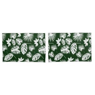 熱帯葉-緑の白-枕箱 枕カバー
