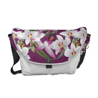 熱帯蘭の花の花の島のメッセンジャーバッグ クーリエバッグ