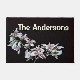 熱帯蘭の花の花柄は玄関マットを個人化します ドアマット
