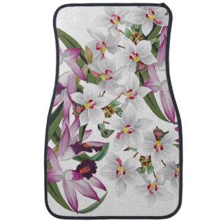 熱帯蘭の花柄の花の島のフロアマット カーマット